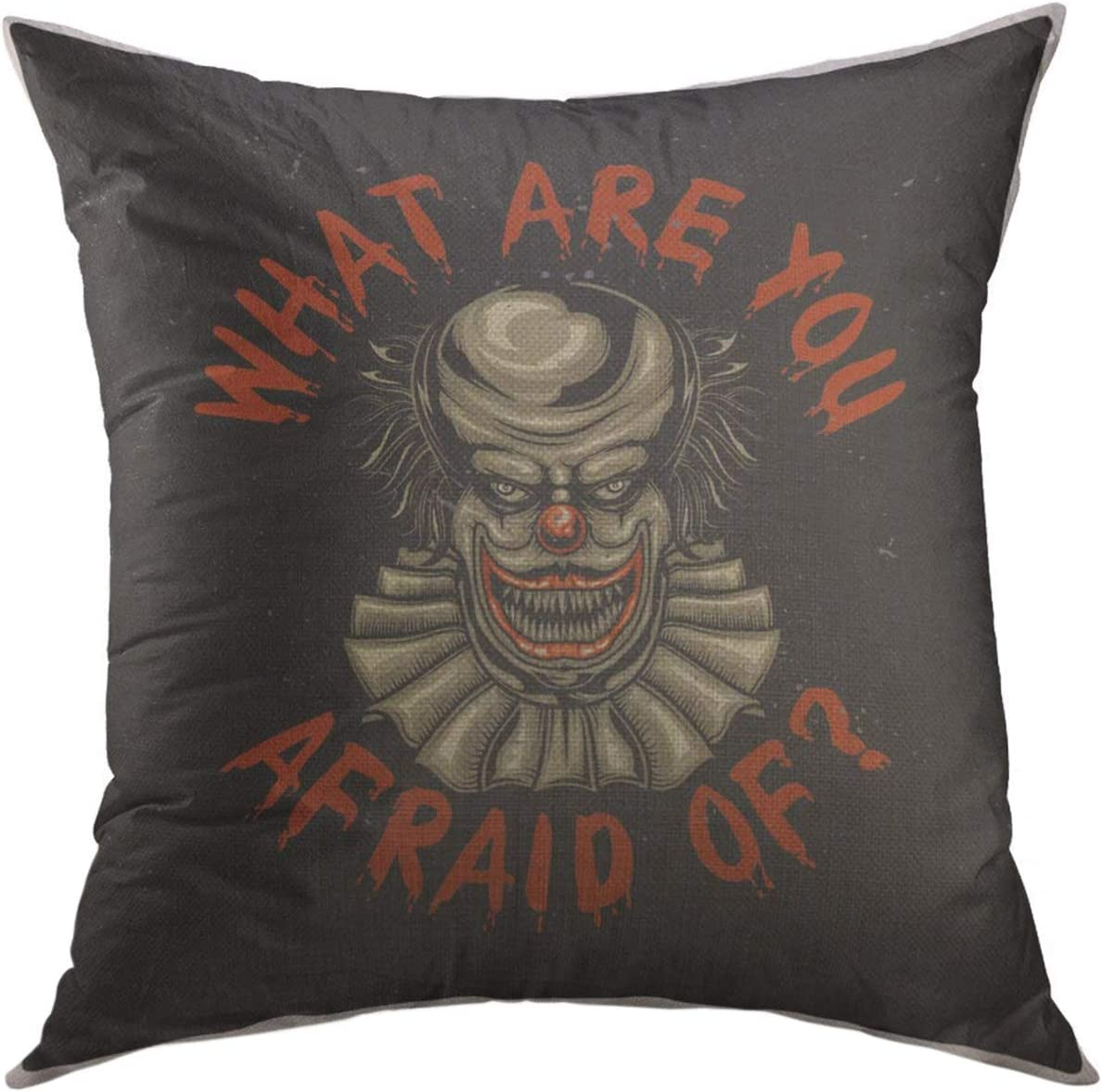 Mugod Decorative Throw Pillow Cover Couch Sofa,Colorful Cartoon Design Scary Clown Funny Home Decor Pillow case 18x18 inch
