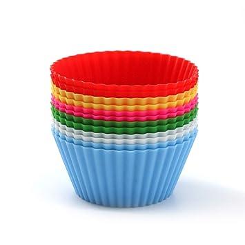 Moldes de silicona reutilizables para magdalenas, antiadherentes, fáciles de limpiar, 2 formas, redondos, corazones, 12 piezas coloridas Round Cupcake Cup: ...