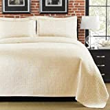 Lamont Home Diamante King Coverlet, Ivory by Lamont Home
