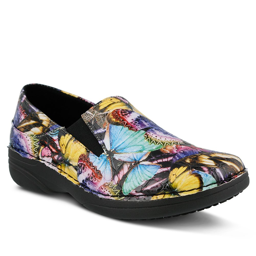 Spring Step Women's Ferrara Work Shoe, Blue/Multi Butterfly Crocodile, 10 M US