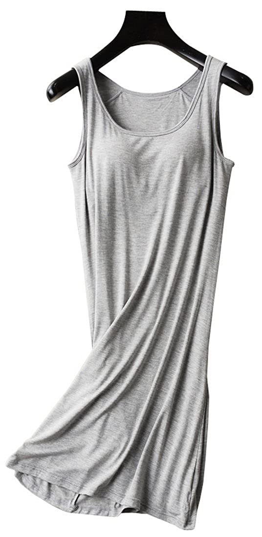 48a23d341f Vocni Sleepwear Womens Nightgown Full Slip Lounge Dress with Built-in Shelf  Bra 20180410-