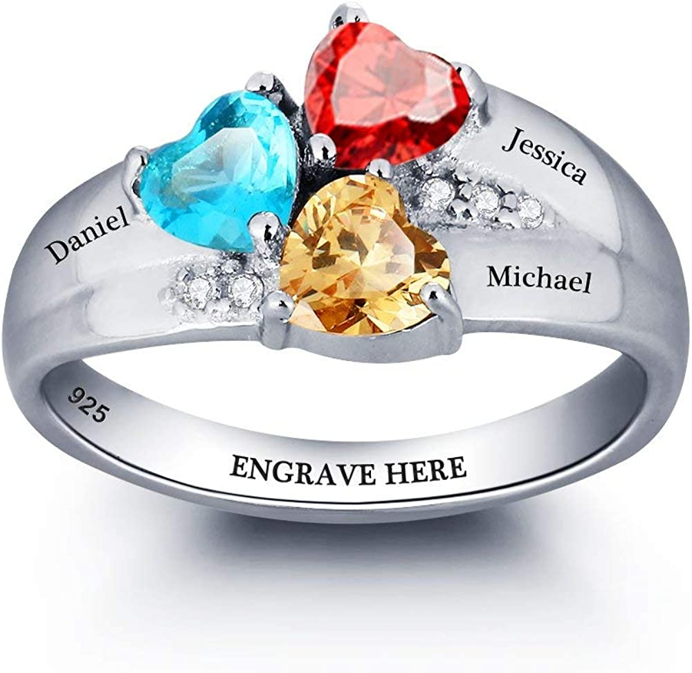 Mothers Ring Personalized 3 Stones and 3 Names 925 Sterling Silver/—Family Name Ring Anniversary for Grandma