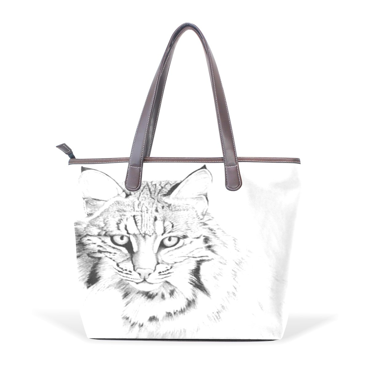 SCDS Painting The Cat PU Leather Lady Handbag Tote Bag Zipper Shoulder Bag