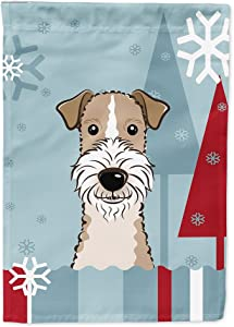 Caroline's Treasures BB1743GF Winter Holiday Wire Haired Fox Terrier Flag Garden Size, Small, Multicolor