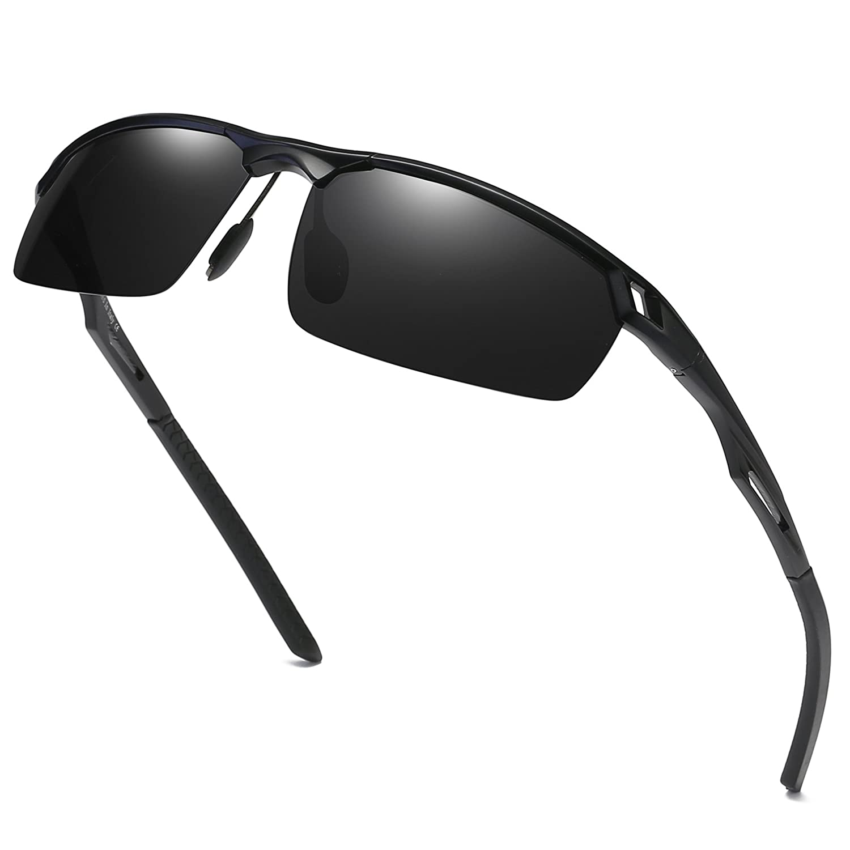 DUCO Herren Sport Stil Polarisierte Sonnenbrille Metallrahmen Brille 8550 SH8550-Braun