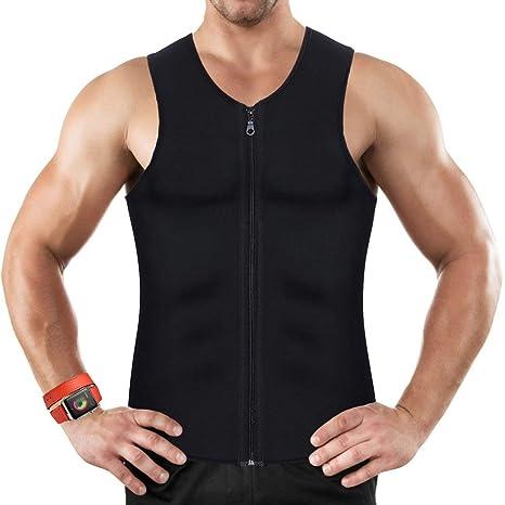 6d76ee96f15dc1 Mens Waist Trainer Vest for Weightloss Hot Neoprene Corset Body Shaper  Zipper Sauna Tank Top Workout
