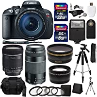 Canon EOS Rebel T5i Digital SLR Camera Body with EF-S 18-135mm IS STM + EF 75-300mm f/4-5.6 III + Studio Series 58mm Wide Angle and 58mm Telephoto Lenses + 40 GB Storage + Tripods + 4 Filters + Deluxe Bag + Extra Accessories Benefits Review Image