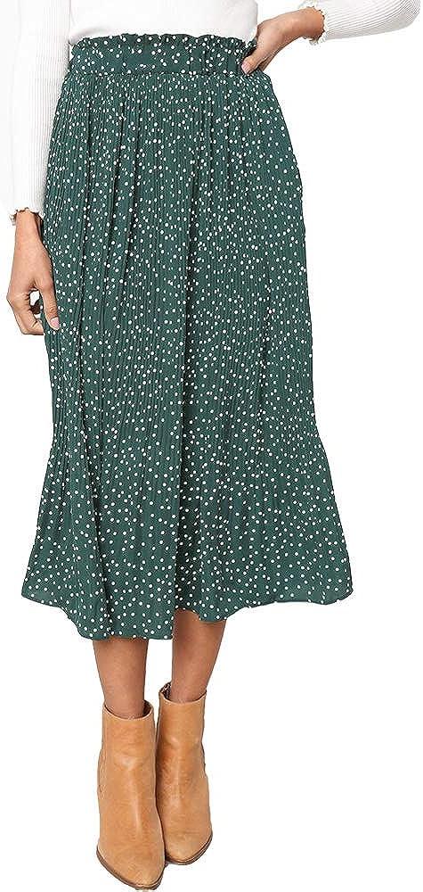 Exlura Womens High Waist Polka Dot Pleated Skirt Midi Maxi Swing Skirt with Pockets at  Women's Clothing store