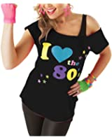 OTP Deluxe I Love The 80's Ladies Pop Star T-Shirt Black Sexy Retro Top Fancy Dress Costume