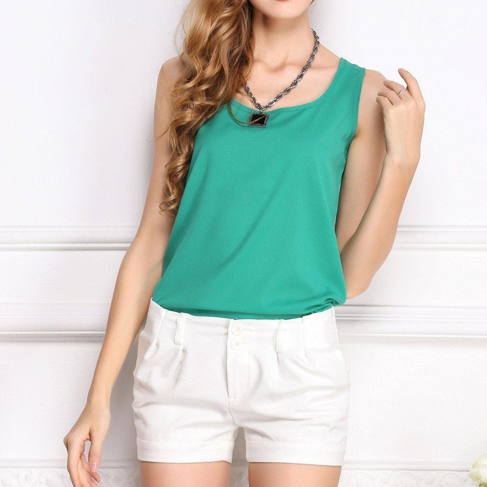 JFLYOU Basic Tank Top for Women,Loose Chiffon Sleeveless O Neck Solid Shirt Tops(Green,XXXL) by JFLYOU-tank top (Image #1)