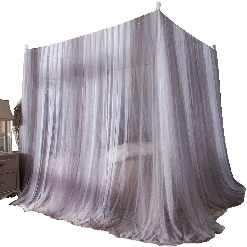 Mengersi 4 Corner Bed Curtain Canopy Bed Frame Draperies for Girls Adults Children's Gifts (Queen, Gray and White) by Mengersi (Image #2)