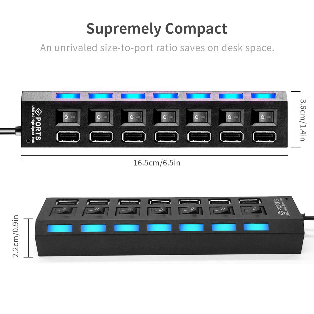 7 in 1 USB Hub, USB Potrs and Charging Ports with Individual On/Off Switches and LED Lights for PC, USB Flash Drives, Mouse and More
