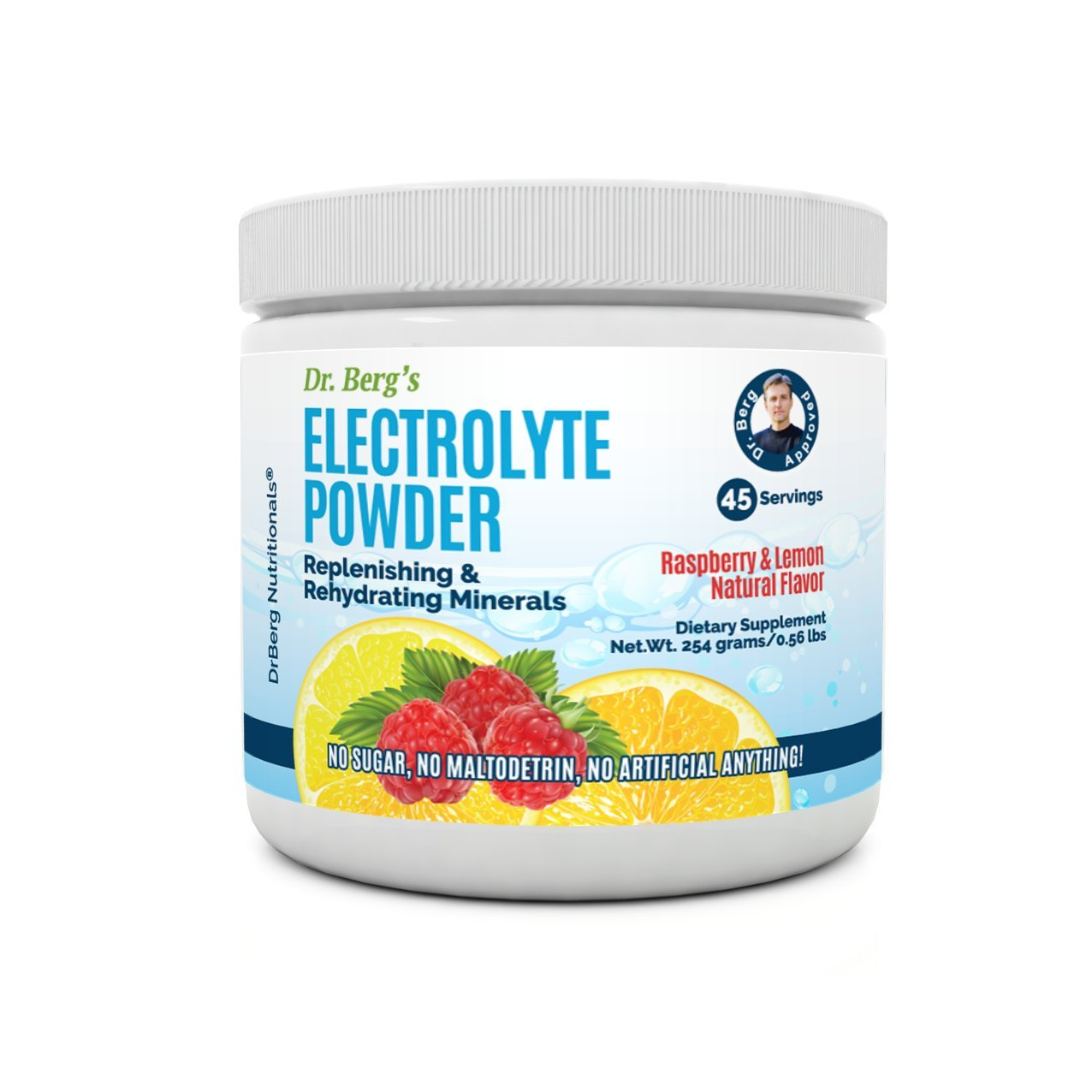 Dr. Berg's Electrolyte Powder, High Energy, Replenish & Rejuvenate Your Cells, 45 Servings, NO Maltodextrin or Sugar, Amazing Raspberry Lemon Flavor