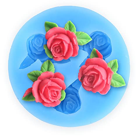 CLE DE TOUS - Molde Silicona 3D Fondant para tarta Molde Con Forma de Rosa con