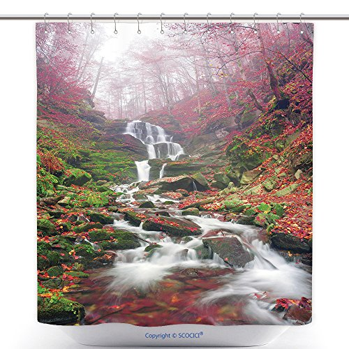 vanfan-Durable Shower Curtains Famous Alpine Beautiful Waterfall Borzhava Under The Mountain Village Pylypets Ski Resort Cold Polyester Bathroom Shower Curtain Set Hooks(54 x 78 inches)