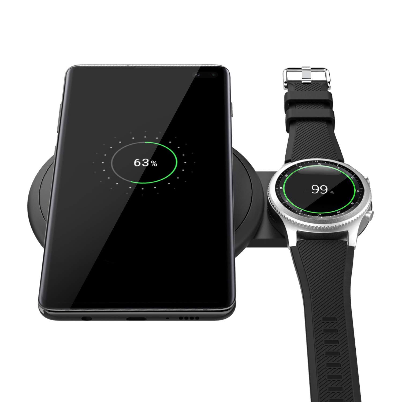 MoKo Qi Cargador Inalámbrico Rápido, Diseño Escalable Soporte de Carga rápida Cargador Duo para Samsung Galaxy Watch Active, Galaxy Buds, Galaxy Watch ...