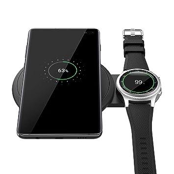 MoKo Qi Cargador Inalámbrico Rápido, Diseño Escalable Soporte de Carga rápida Cargador Duo para Samsung Galaxy Watch 42/46mm, Galaxy Buds, Galaxy ...