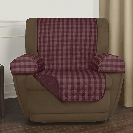 Maytex Buffalo Check Reversible Recliner Furniture Cover, Burgundy