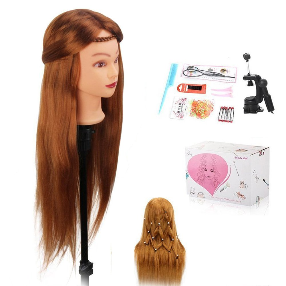 Mannequin Head, BeautyStar 75CM Yaki Synthetic Hair Hairdressing Training Head Cosmetology Manikin Head Hair Styling with Clamp and Some Practice Tools