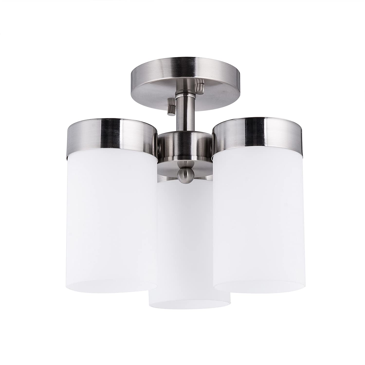 Co z 3 light semi flush mount nickel finish mini chandelier modern ceiling light fixture for dining room kitchen bedroom with satin etched cased opal glass