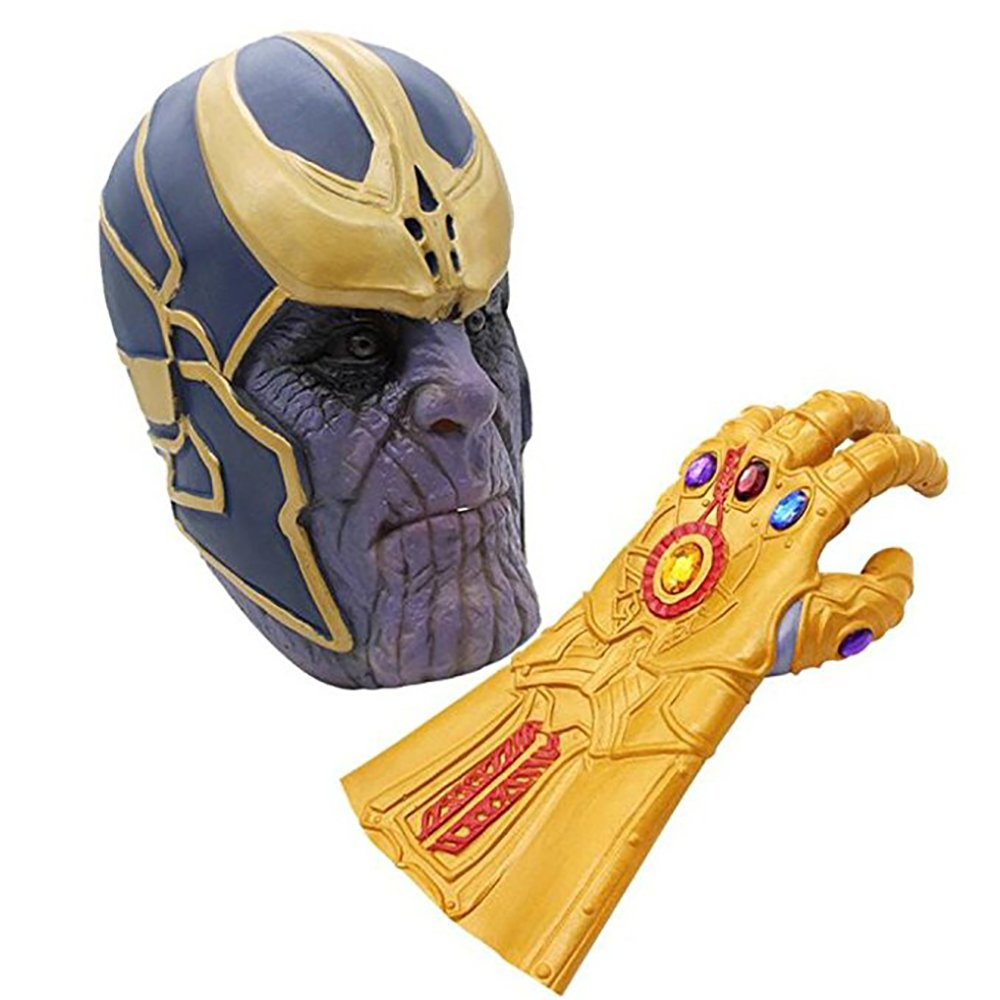 Avengers Infinity War Thanos Mask Gauntlet Costume Party Props Latex Mask Miminuo