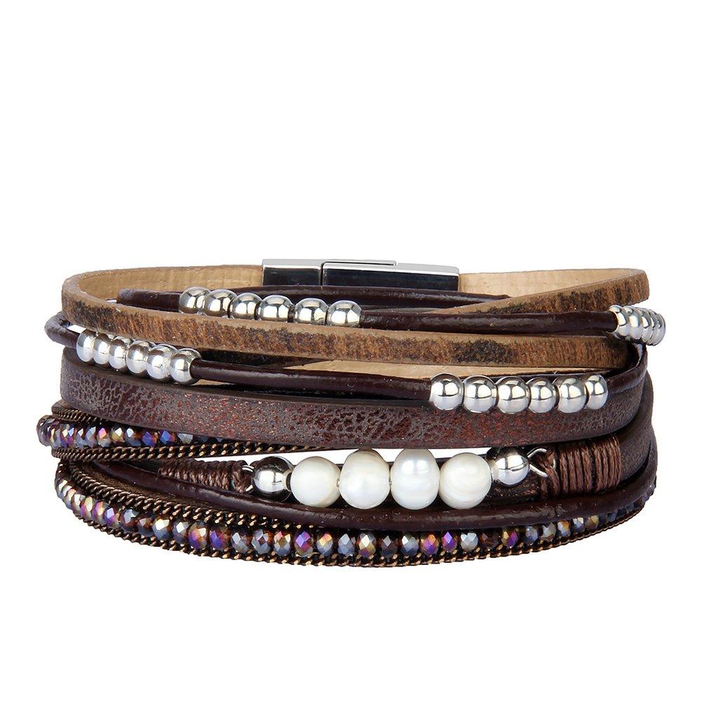 Bfiyi Leather Cuff Bracelets for Women Bead Jewelry Charm Bracelets Handmade Gift for Girls,Kids