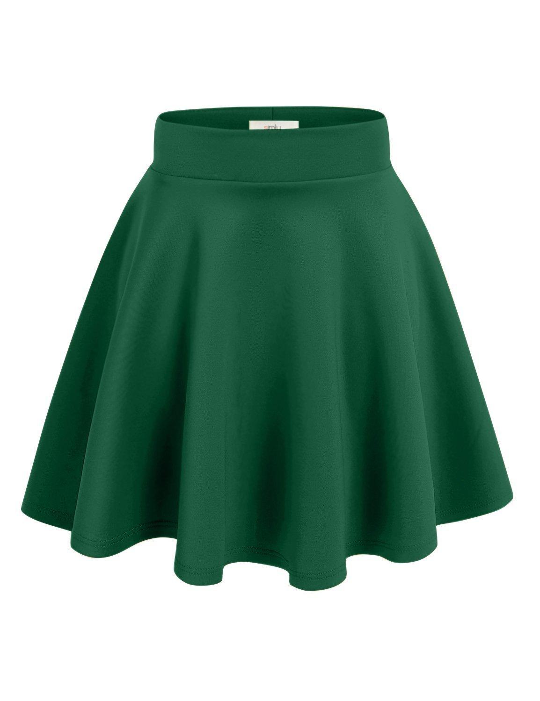 Simlu Womens Skater Skirt, A Line Flared Skirt Reg & Plus Size Skater Skirts USA (Size XXX-Large, Hunter Green)