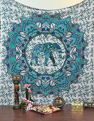 Große Blumen-Elefant Indian Mandala Hippie Wandbehang, Blau, Grün, 85