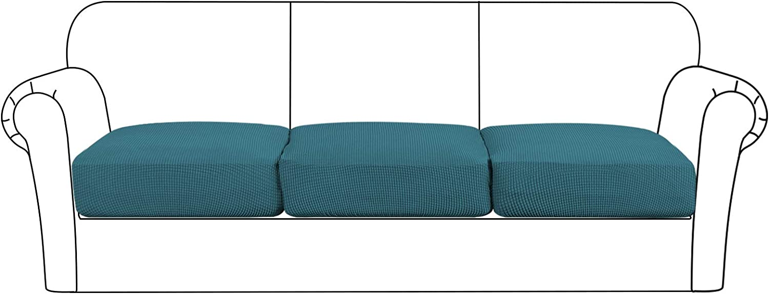 High Stretch Cushion Cover Sofa Cushion Furniture Protector for Sofa Seat Slipcover Sofa Cover with Elastic Bottom (3 Pieces Cushion Covers, Deep Teal)