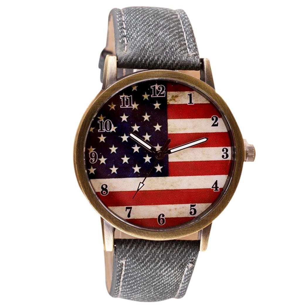 VESNIBA American National Flag pattern Leather Band (Gray)