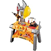 Toy Choi's Large Kids Power Workbench with Realistic Tools and Helmet, Electric Dril and Halmetl, STEM Kids Building Construction Tools Set