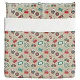 Movie Night Duvet Bed Set 3 Piece Set Duvet Cover - 2 Pillow Shams - Luxury Microfiber, Soft, Breathable