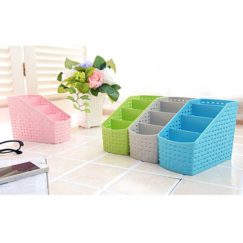 DAYNECETY Office Desk Organiser Caddy Basket Plastic Desktop Storage Hollow Tableware Container Sundries Box 5 Lattice Purple
