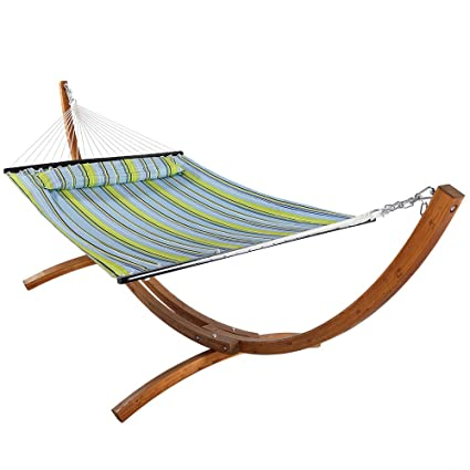 Sunnydaze Quilted Double Fabric 2 Person Hammock With 12 Foot Curved Arc Wood Stand Blue And Green 400 Pound Capacity