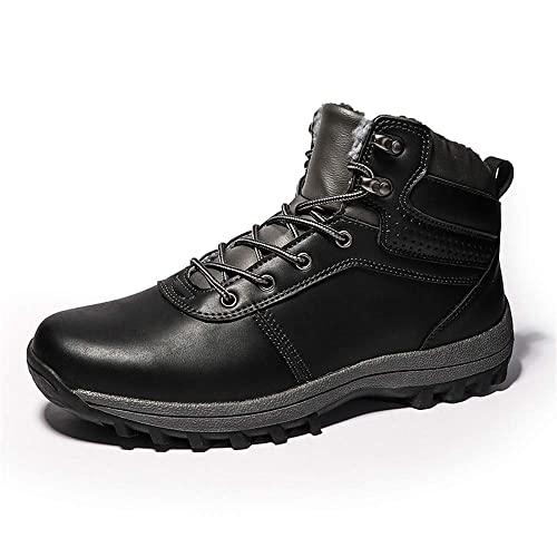 9977ba3dad07e Snow Boots Mens Winter Warm Waterproof Hiking Walking Ankle Boots Fur Lined  Lace Up Work Leather Shoes Black Light Brown Dark Brown 6-11 UK