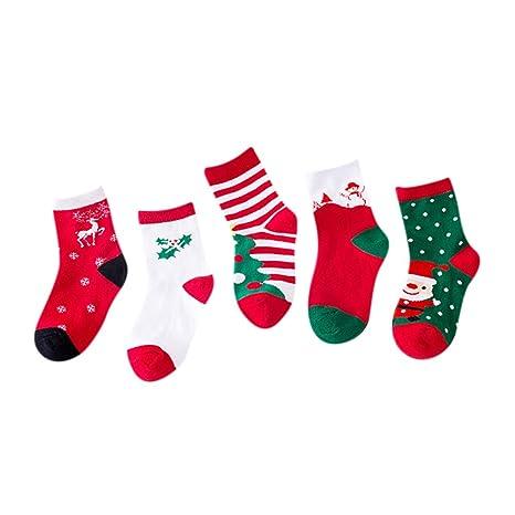 Calcetines Navidad 5 pcs suave confortable Cartoon Kids calcetines de Navidad Creative Desodorante transpirable algodón calcetines