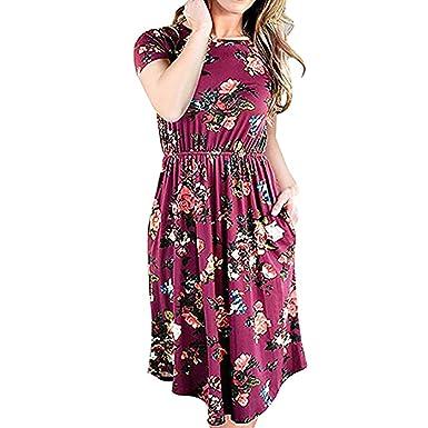 Soupliebe_vestido Mujer Vestido de Cuello Redondo para Mujer ...