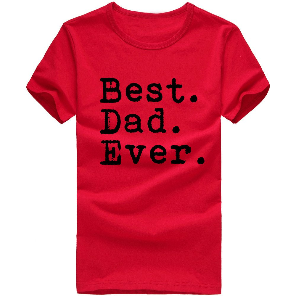 Danhjin Men Women Casual Letter Print Best Dad Ever Short Sleeve Cotton Shirts Red