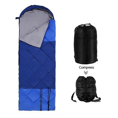 AIMADO Saco de Dormir Impermeable Ligero, Camping 210T Para Adultos con Bolsa de Compresión,