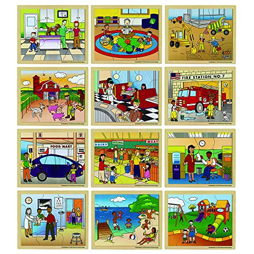 Excellerations Wooden Community Jigsaw Puzzle 9/5Â-L x 11.5Â-W for Children, 8-12 Piece Puzzles, Set of 12 Puzzles, Preschool (Item # Neighbor) ()