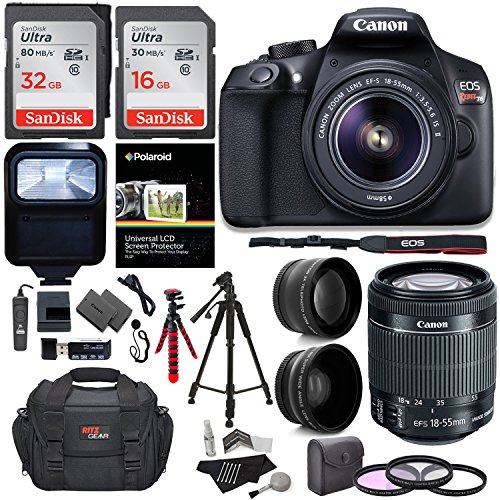 Canon T6 Digital Rebel SLR Camera Kit with EF-S 18-55mm f/3.5-5.6 IS II Lens, 64GB Memory Card, Camera Bag and Premium Accessory Bundle