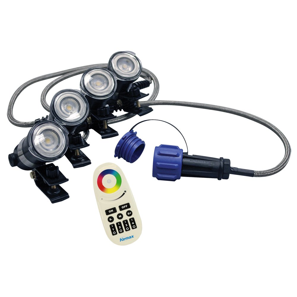 Airmax Color-Changing RGBW 4 LED Light Sets for EcoSeries Fountain, Standard 100' Cord