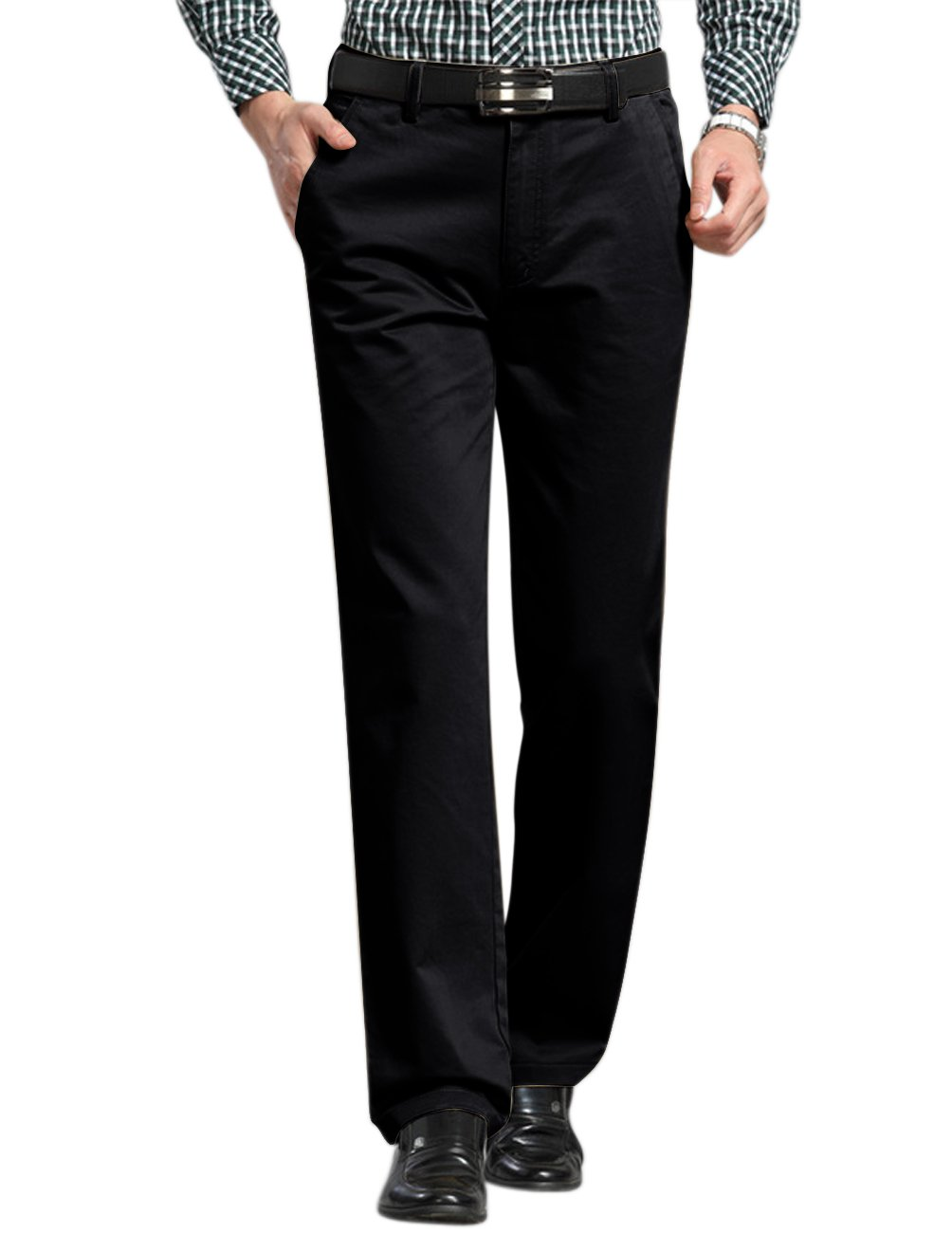 Match Men's Straight Leg Flat Front Casual Pants (36W x 31L, 8131 Black)
