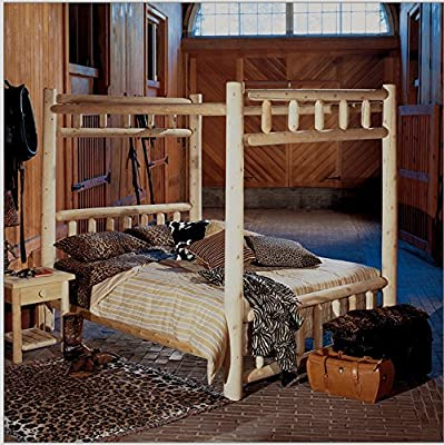 Full Size Canopy Poster Bed made of Natural Cedar Logs