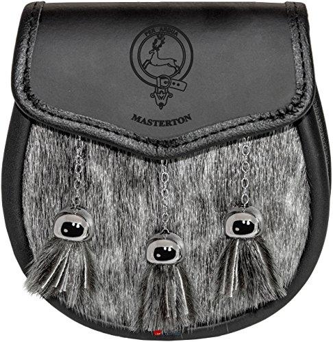 Masterton Semi Sporran Fur Plain Leather Flap Scottish Clan Crest