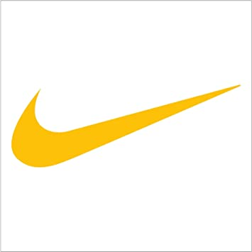 amazon com nike swoosh logo vinyl sticker decal yellow 4 inch home rh amazon com yellow nike logo patch yellow nike logo shirt