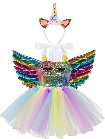 YiZYiF Vestido Tutú Disfraz Unicornio Niñas Vestido Fiesta
