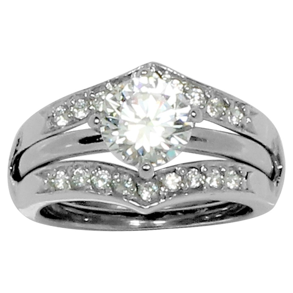 Round Prong Set CZ Engagement Style Ring in Ring Guard with 20 Small Accent Stones in Stainless Steel Size 7