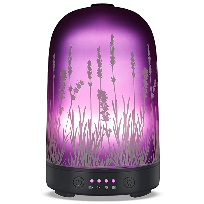 Aromatherapy Essential Oil Diffuser 120ml Glass Fragrance Ultrasonic Cool Mist Humidifier with 7 Color LED Lights and Waterless Auto Shut-off 4 Timed Settings For Home Office Yoga Spa Baby
