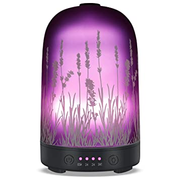 Aromatherapy Essential Oil Diffuser 100ml Glass Fragrance Lavender Ultrasonic Cool Mist Humidifier With 7 Color Led Lights And Waterless Auto Shut Off 4 Timed Settings For Home Office Yoga Spa Baby by Puseayz
